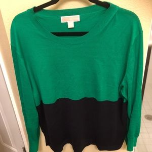 Michael Kors green/navy light weight knit sweater